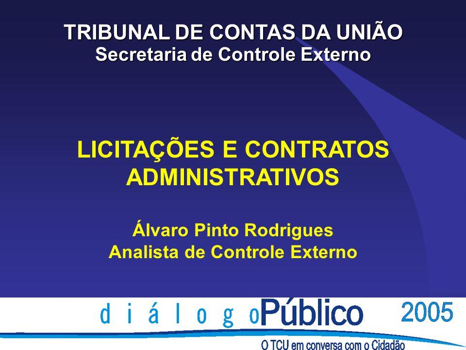 LICITAÇÕES E CONTRATOS ADMINISTRATIVOS Álvaro Pinto Rodrigues Analista de Controle Externo TRIBUNAL DE CONTAS DA UNIÃO Secretaria de Controle Externo