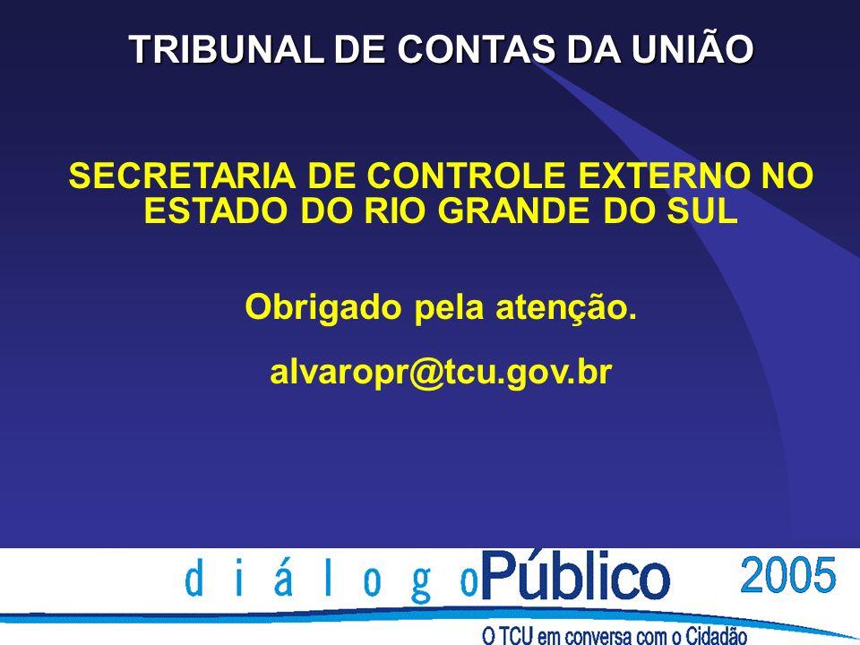 TRIBUNAL DE CONTAS DA UNIÃO SECRETARIA DE CONTROLE EXTERNO NO ESTADO DO RIO GRANDE DO SUL Obrigado pela atenção. alvaropr@tcu.gov.br