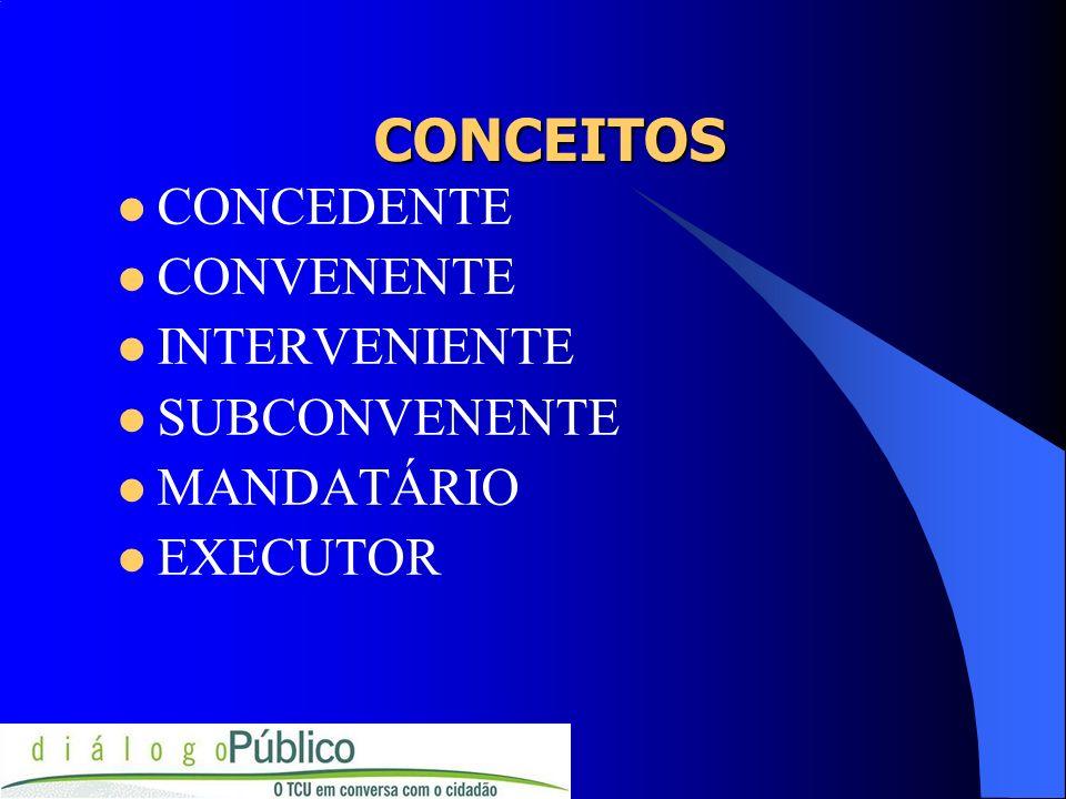 CONCEITOS CONCEDENTE CONVENENTE INTERVENIENTE SUBCONVENENTE MANDATÁRIO EXECUTOR