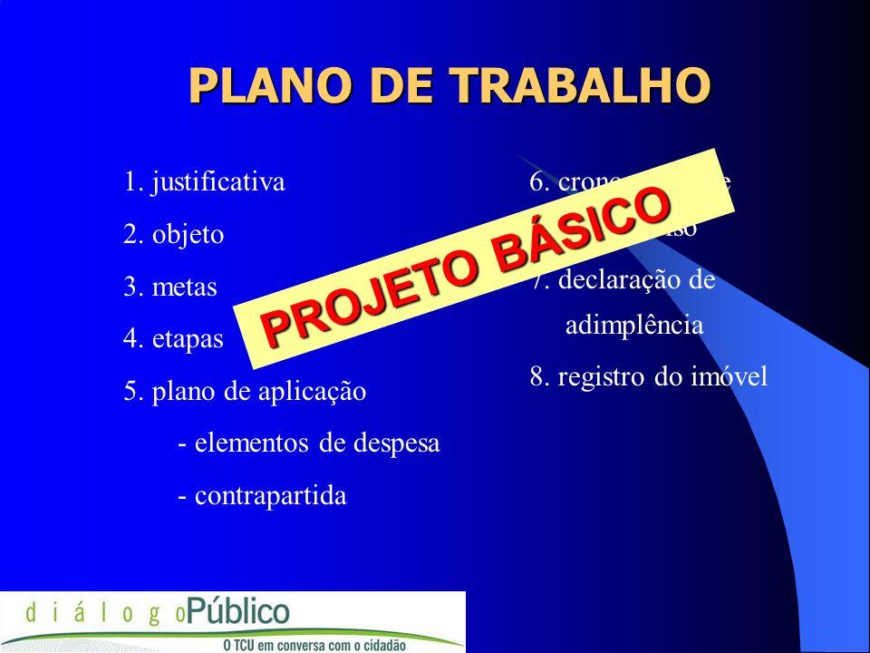 PLANO DE TRABALHO 1. justificativa 2. objeto 3. metas 4. etapas 5. plano de aplicação - elementos de despesa - contrapartida 6. cronograma de desembol