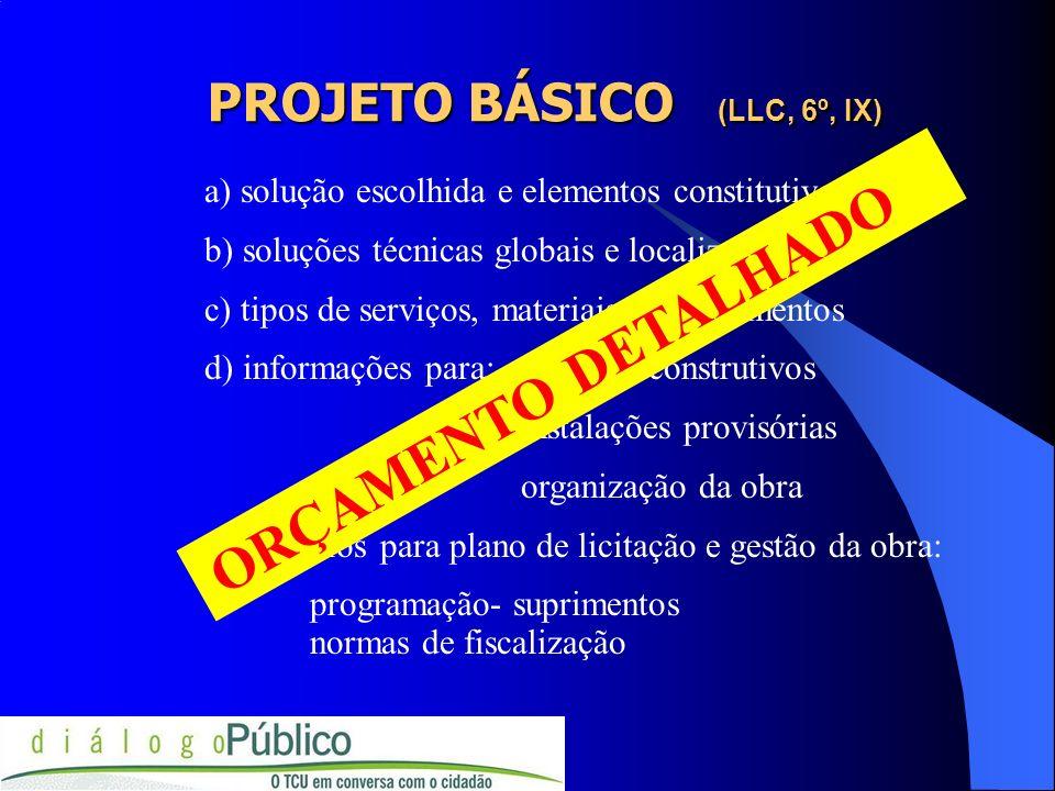 PROJETO BÁSICO (LLC, 6º, IX) a) solução escolhida e elementos constitutivos b) soluções técnicas globais e localizadas c) tipos de serviços, materiais