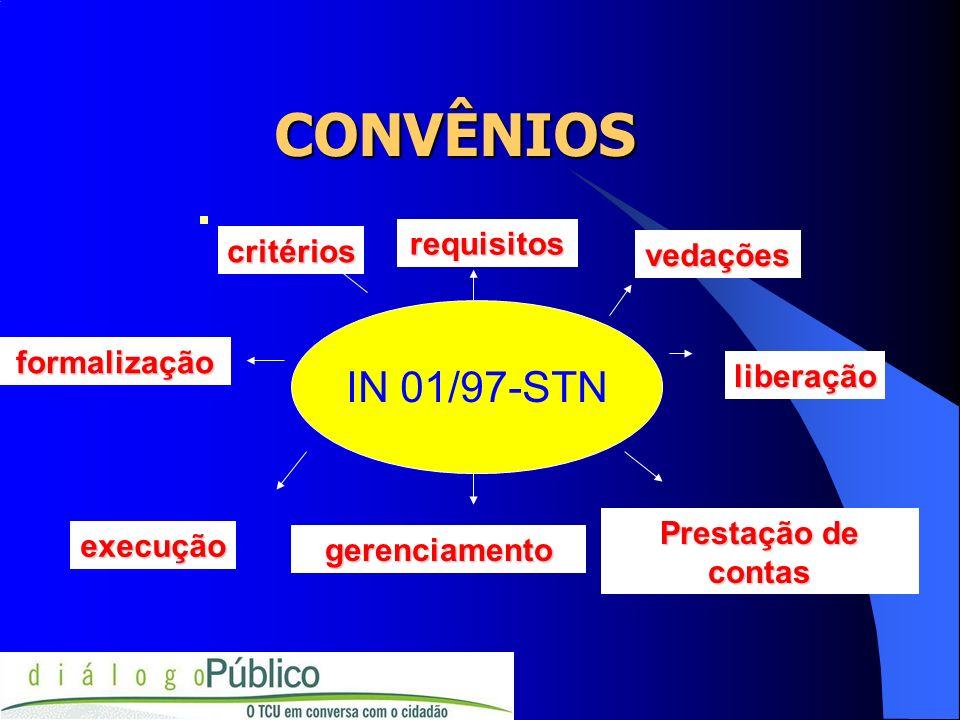 CONVÊNIOS CONVÊNIOS IN 01/97-STN Prestação de contas gerenciamento execução critérios requisitos vedações formalização liberação