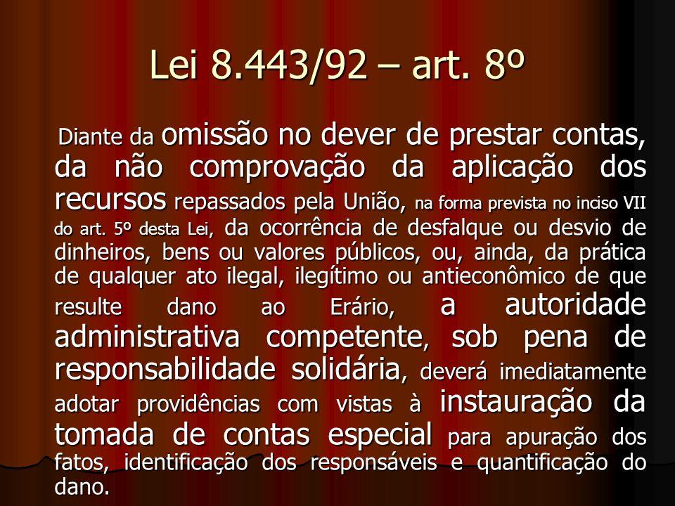 Lei 8.443/92 – art. 8º Diante da omissão no dever de prestar contas, da não comprovação da aplicação dos recursos repassados pela União, na forma prev