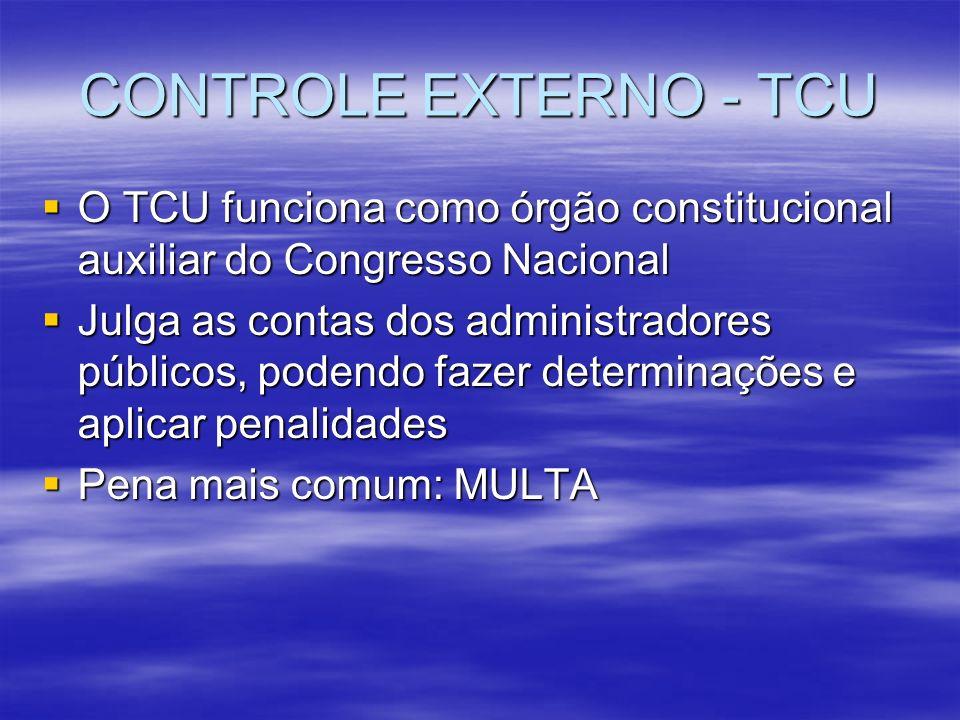CONTROLE EXTERNO - TCU O TCU funciona como órgão constitucional auxiliar do Congresso Nacional O TCU funciona como órgão constitucional auxiliar do Co