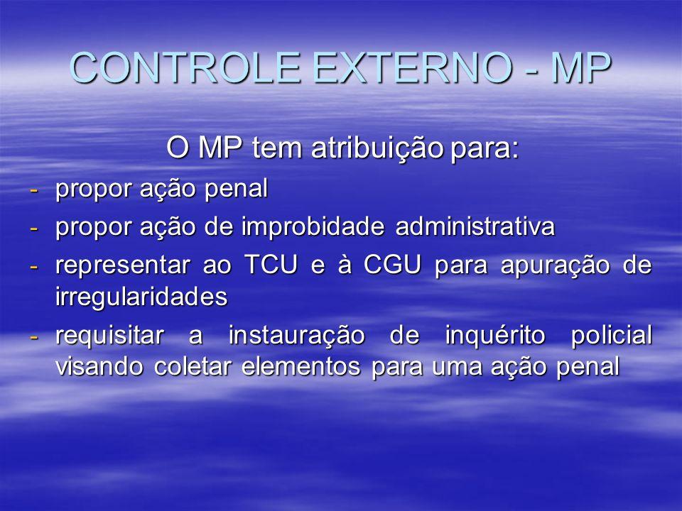 CONTROLE EXTERNO - MP O MP tem atribuição para: - propor ação penal - propor ação de improbidade administrativa - representar ao TCU e à CGU para apur