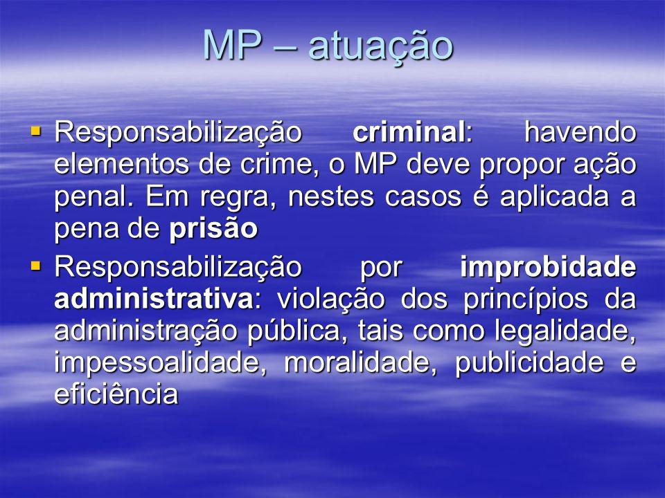 MP – atuação Responsabilização criminal: havendo elementos de crime, o MP deve propor ação penal. Em regra, nestes casos é aplicada a pena de prisão R