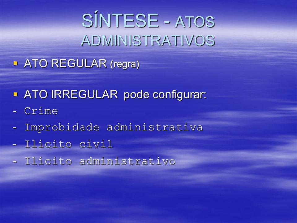 SÍNTESE - ATOS ADMINISTRATIVOS ATO REGULAR (regra) ATO REGULAR (regra) ATO IRREGULAR pode configurar: ATO IRREGULAR pode configurar: - Crime - Improbi