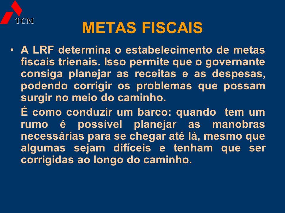 METAS FISCAIS A LRF determina o estabelecimento de metas fiscais trienais. Isso permite que o governante consiga planejar as receitas e as despesas, p