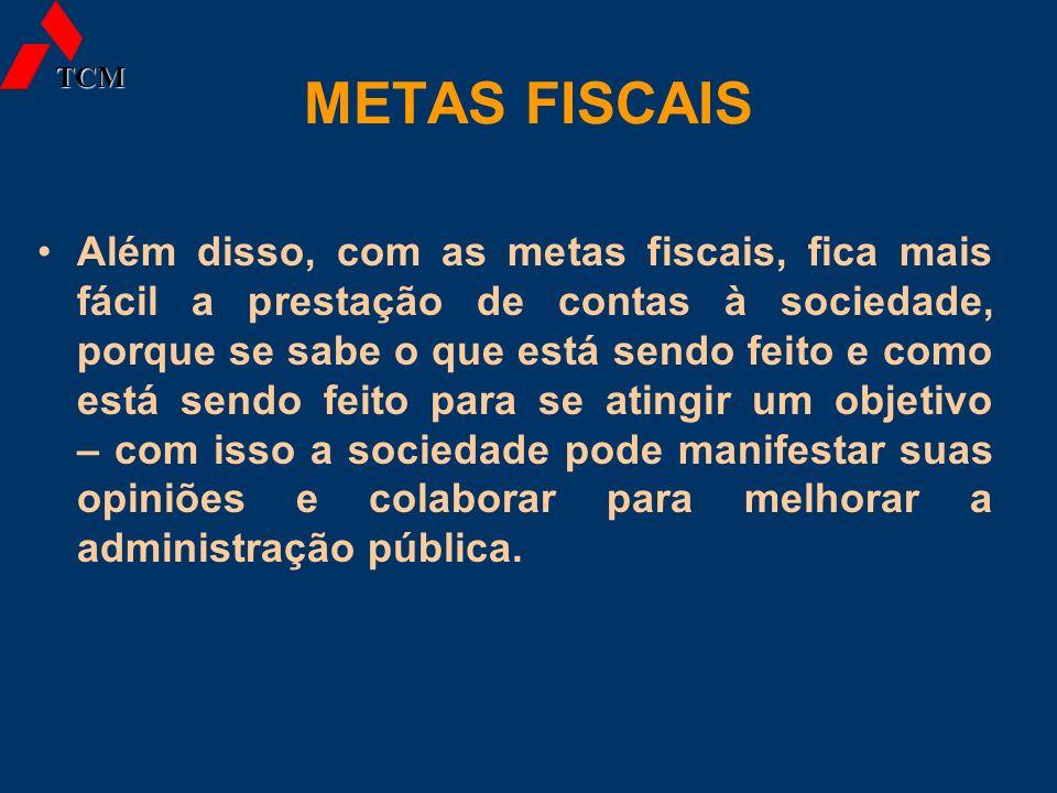 METAS FISCAIS Além disso, com as metas fiscais, fica mais fácil a prestação de contas à sociedade, porque se sabe o que está sendo feito e como está s