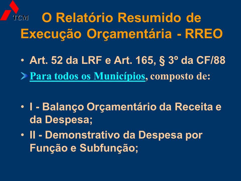 O Relatório Resumido de Execução Orçamentária - RREO Art. 52 da LRF e Art. 165, § 3º da CF/88 Para todos os Municípios, composto de: I - Balanço Orçam
