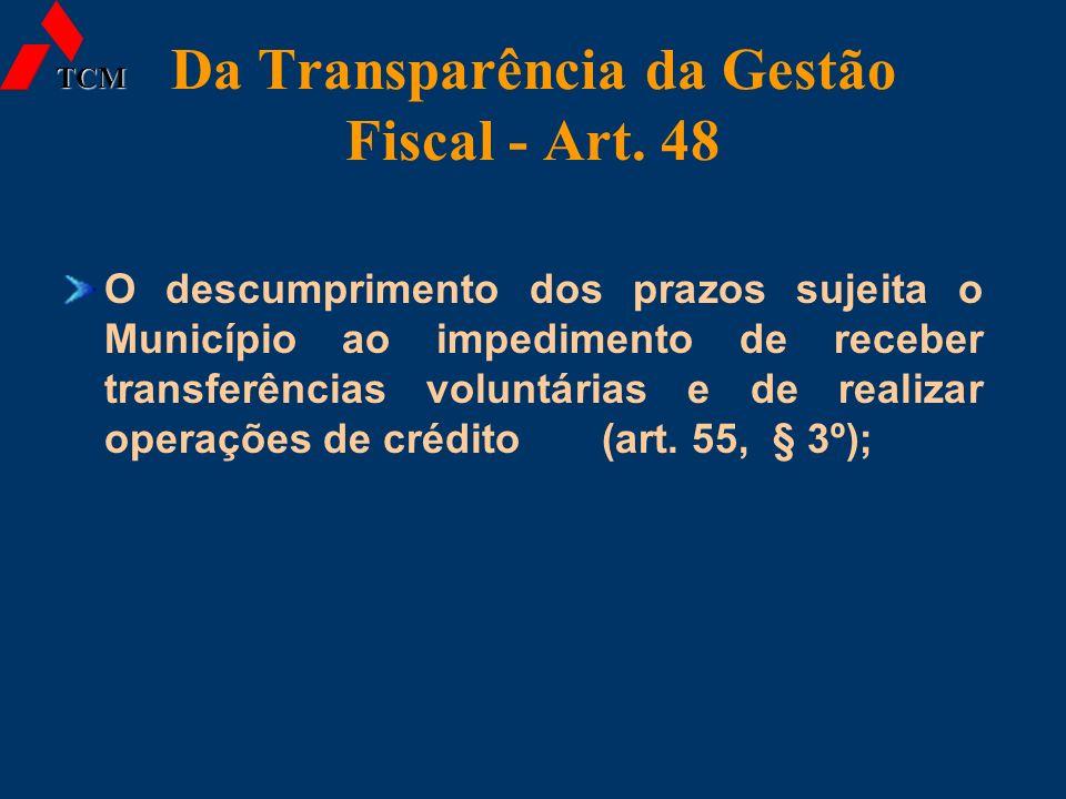 Da Transparência da Gestão Fiscal - Art. 48 O descumprimento dos prazos sujeita o Município ao impedimento de receber transferências voluntárias e de