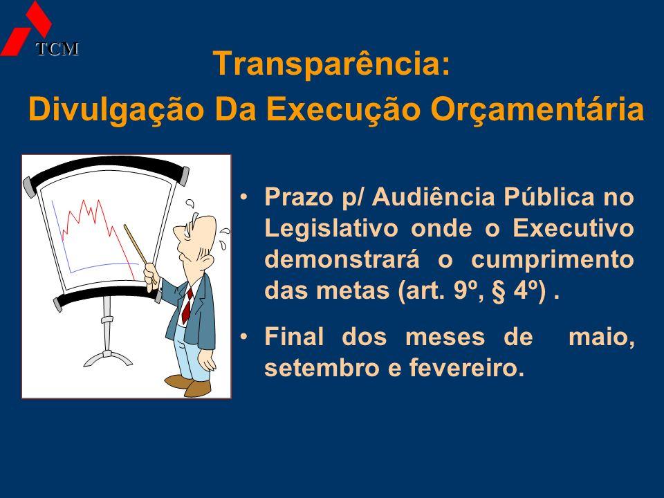 Transparência: Divulgação Da Execução Orçamentária Prazo p/ Audiência Pública no Legislativo onde o Executivo demonstrará o cumprimento das metas (art