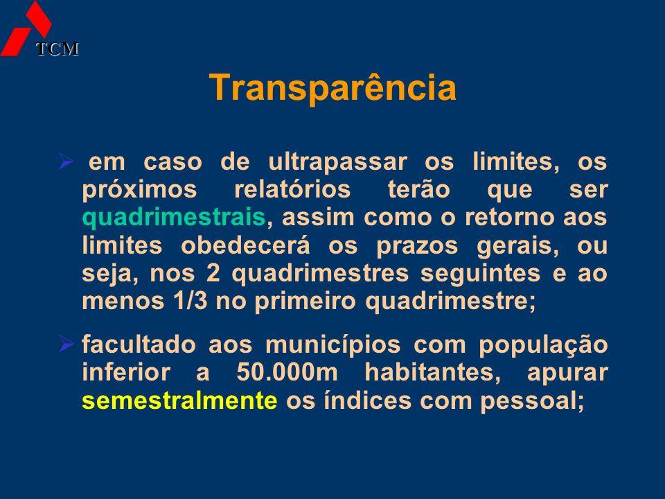 Transparência em caso de ultrapassar os limites, os próximos relatórios terão que ser quadrimestrais, assim como o retorno aos limites obedecerá os pr