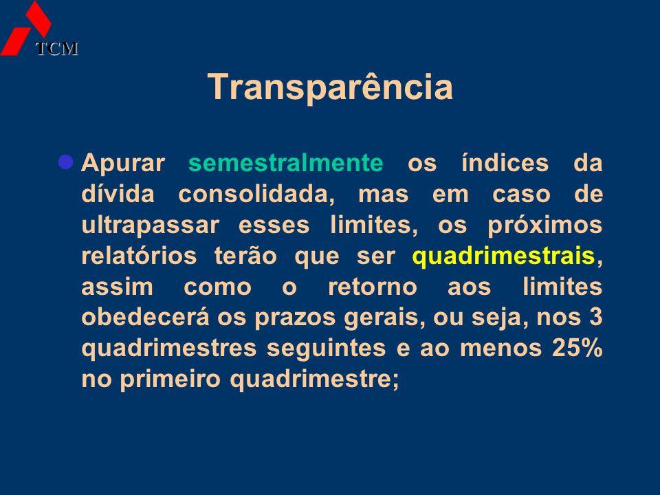 Transparência Apurar semestralmente os índices da dívida consolidada, mas em caso de ultrapassar esses limites, os próximos relatórios terão que ser q