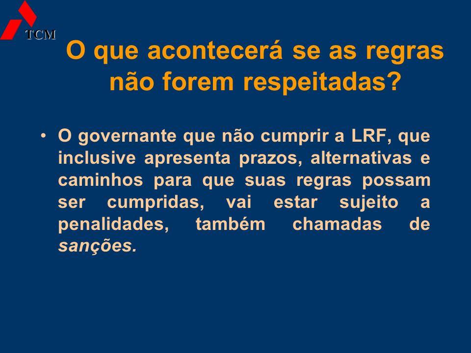 O que acontecerá se as regras não forem respeitadas? O governante que não cumprir a LRF, que inclusive apresenta prazos, alternativas e caminhos para