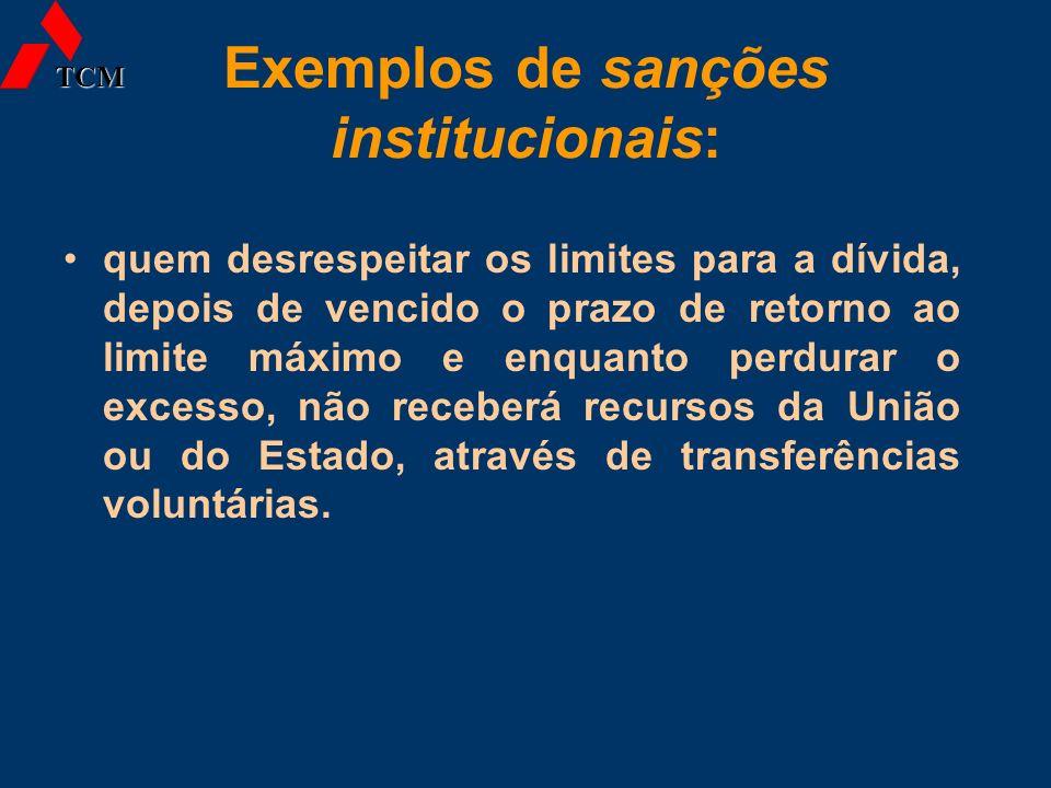 Exemplos de sanções institucionais: quem desrespeitar os limites para a dívida, depois de vencido o prazo de retorno ao limite máximo e enquanto perdu
