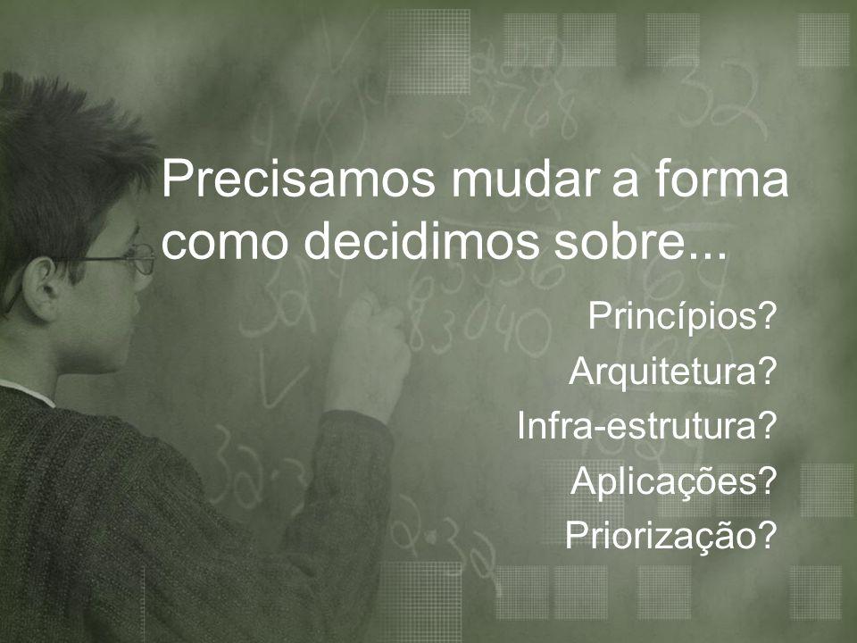 Precisamos mudar a forma como decidimos sobre... Princípios? Arquitetura? Infra-estrutura? Aplicações? Priorização?