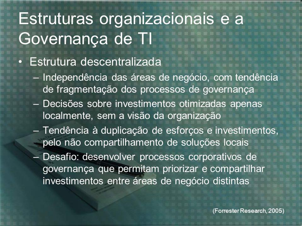 (Forrester Research, 2005) Estruturas organizacionais e a Governança de TI Estrutura descentralizada –Independência das áreas de negócio, com tendênci