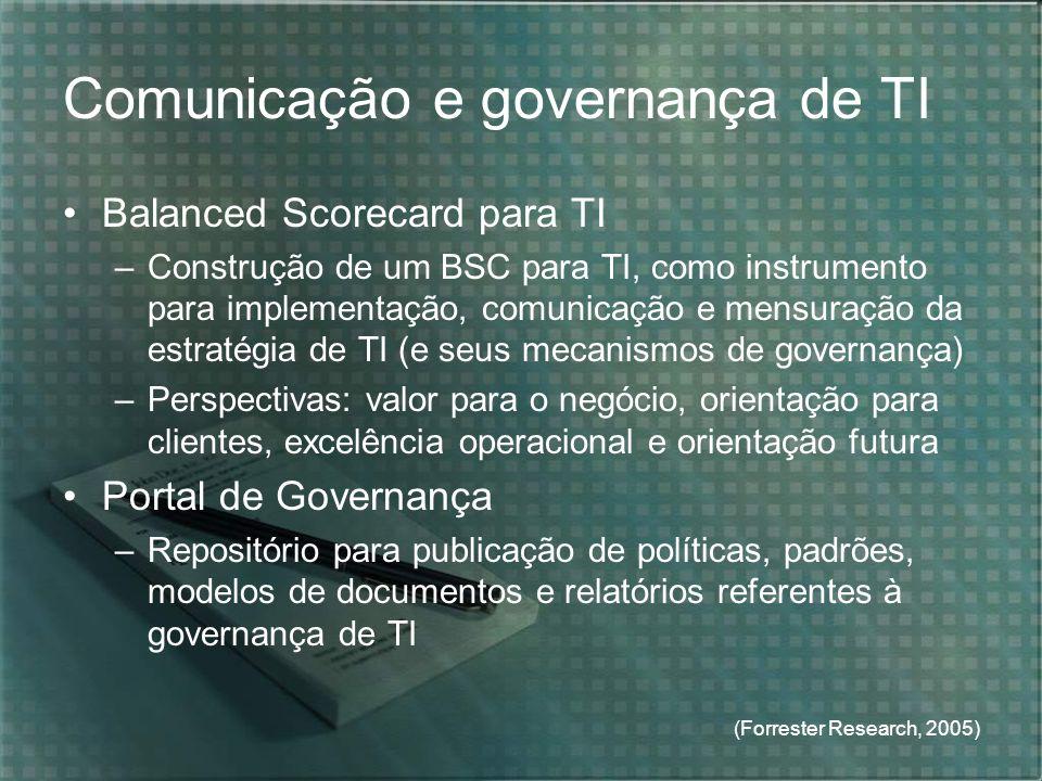 (Forrester Research, 2005) Comunicação e governança de TI Balanced Scorecard para TI –Construção de um BSC para TI, como instrumento para implementaçã