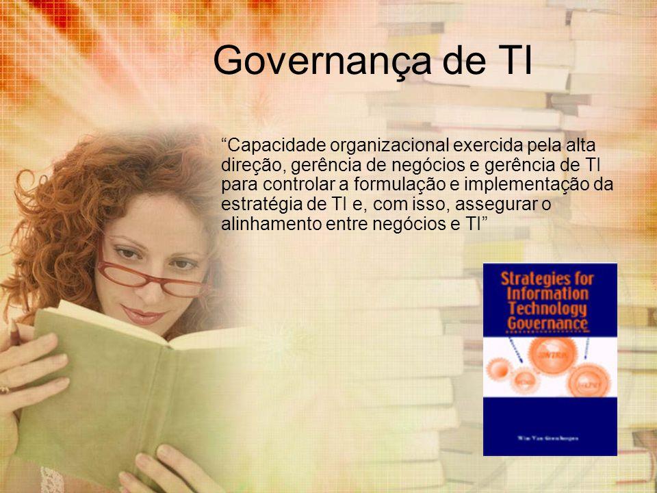 Governança de TI Capacidade organizacional exercida pela alta direção, gerência de negócios e gerência de TI para controlar a formulação e implementaç