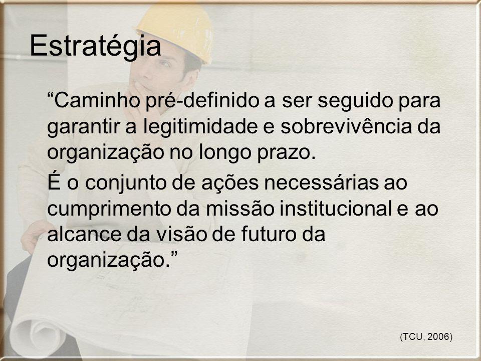 (TCU, 2006) Estratégia Caminho pré-definido a ser seguido para garantir a legitimidade e sobrevivência da organização no longo prazo. É o conjunto de