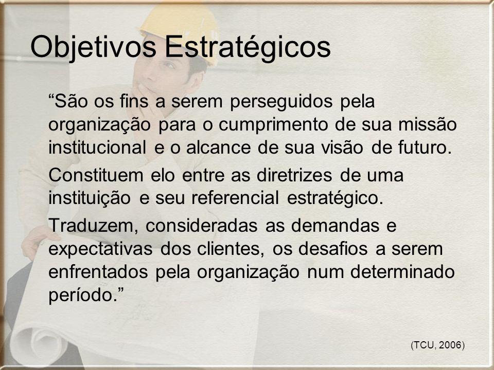 (TCU, 2006) Objetivos Estratégicos São os fins a serem perseguidos pela organização para o cumprimento de sua missão institucional e o alcance de sua