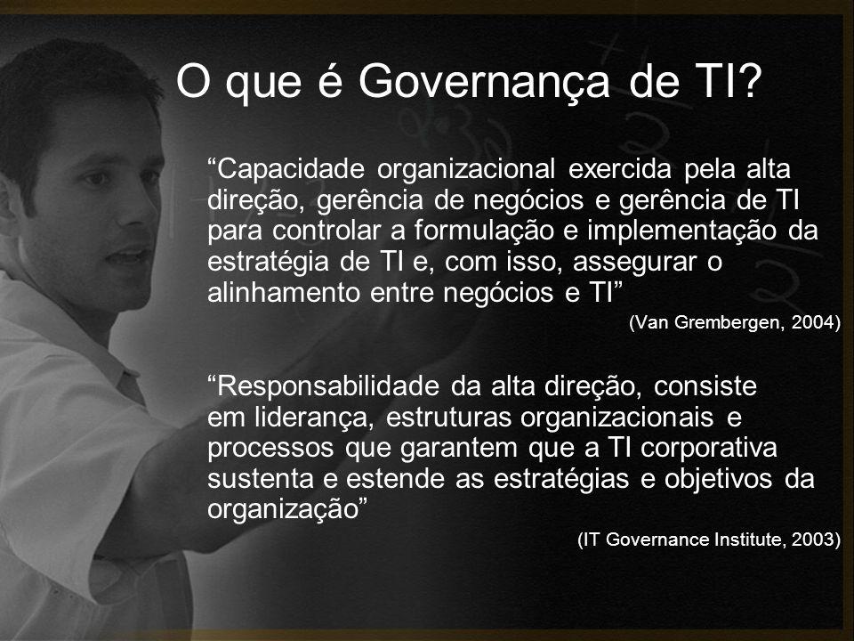 O que é Governança de TI? Capacidade organizacional exercida pela alta direção, gerência de negócios e gerência de TI para controlar a formulação e im