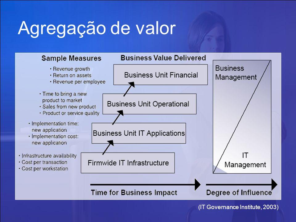 (IT Governance Institute, 2003) Agregação de valor