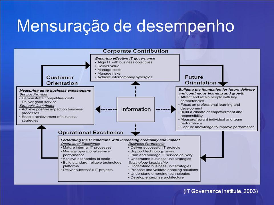 (IT Governance Institute, 2003) Mensuração de desempenho