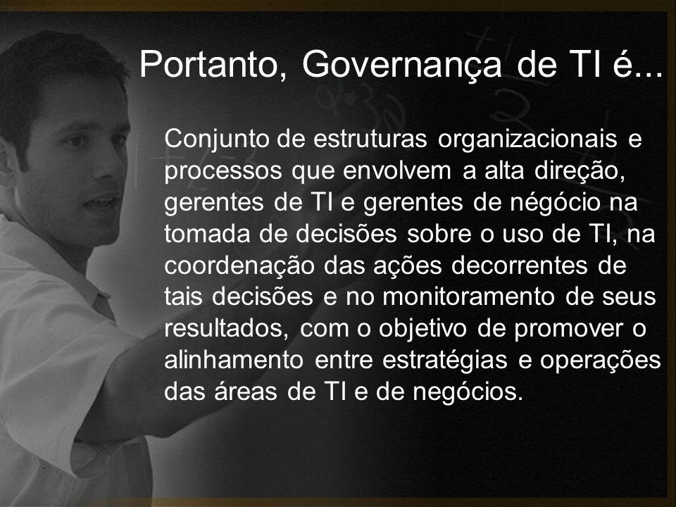 Portanto, Governança de TI é... Conjunto de estruturas organizacionais e processos que envolvem a alta direção, gerentes de TI e gerentes de négócio n