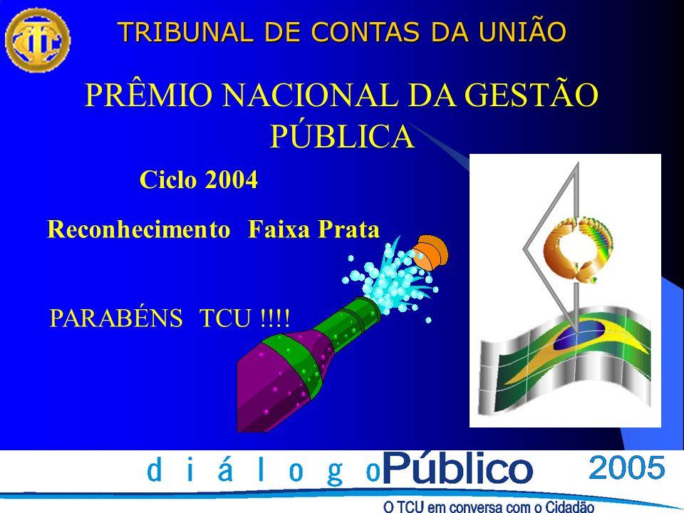 TRIBUNAL DE CONTAS DA UNIÃO PRÊMIO NACIONAL DA GESTÃO PÚBLICA Ciclo 2004 Reconhecimento Faixa Prata PARABÉNS TCU !!!!