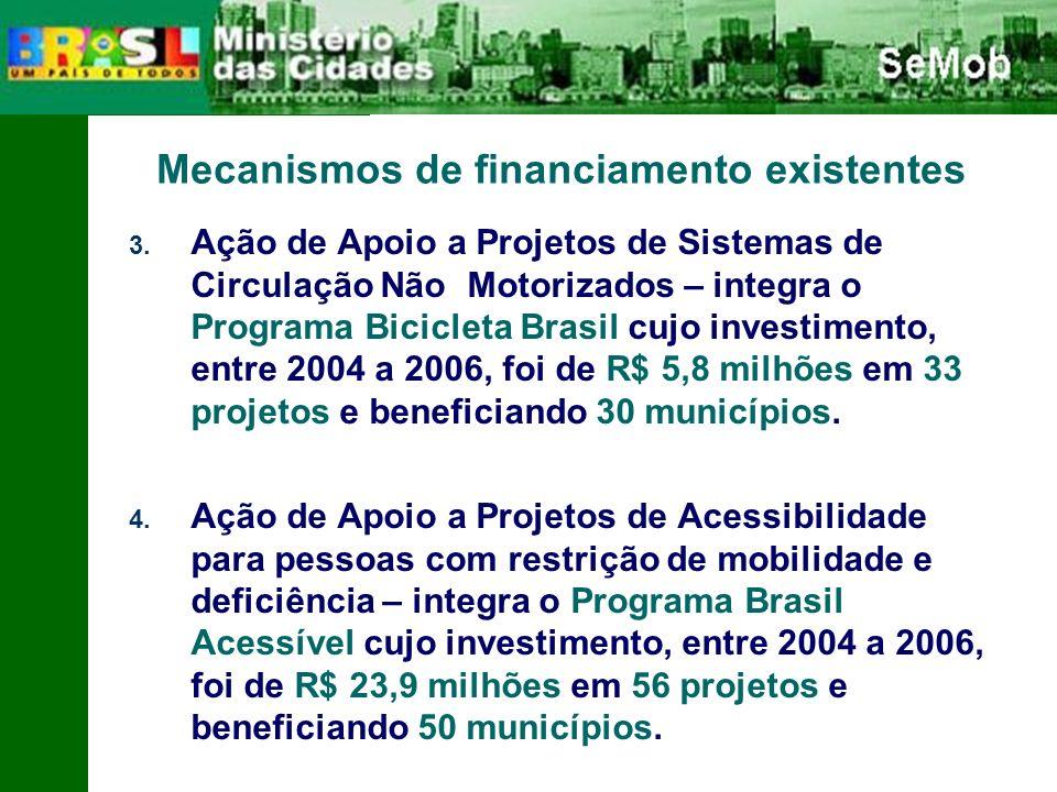 3. Ação de Apoio a Projetos de Sistemas de Circulação Não Motorizados – integra o Programa Bicicleta Brasil cujo investimento, entre 2004 a 2006, foi