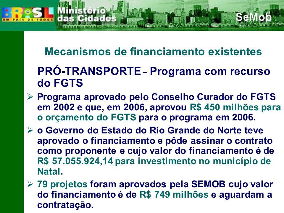 Mecanismos de financiamento existentes PRÓ-TRANSPORTE – Programa com recurso do FGTS Programa aprovado pelo Conselho Curador do FGTS em 2002 e que, em 2006, aprovou R$ 450 milhões para o orçamento do FGTS para o programa em 2006.