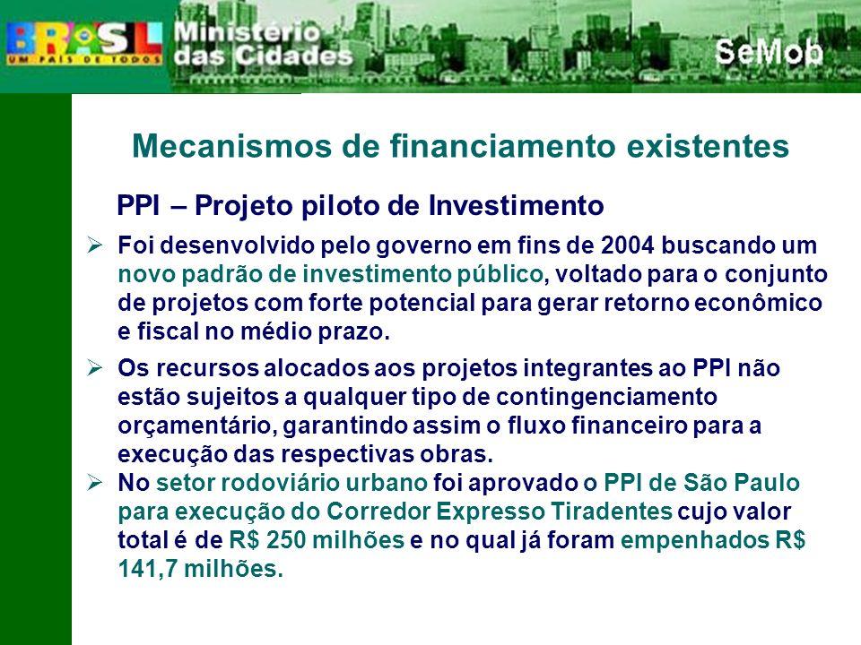 Mecanismos de financiamento existentes PPI – Projeto piloto de Investimento Foi desenvolvido pelo governo em fins de 2004 buscando um novo padrão de investimento público, voltado para o conjunto de projetos com forte potencial para gerar retorno econômico e fiscal no médio prazo.