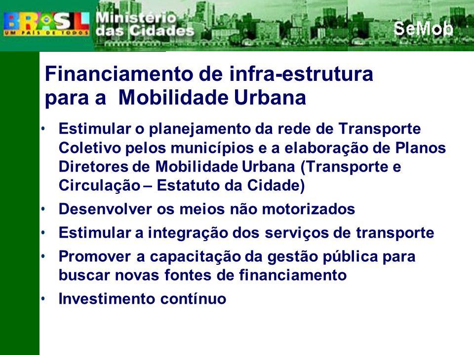 Financiamento de infra-estrutura para a Mobilidade Urbana Estimular o planejamento da rede de Transporte Coletivo pelos municípios e a elaboração de Planos Diretores de Mobilidade Urbana (Transporte e Circulação – Estatuto da Cidade) Desenvolver os meios não motorizados Estimular a integração dos serviços de transporte Promover a capacitação da gestão pública para buscar novas fontes de financiamento Investimento contínuo