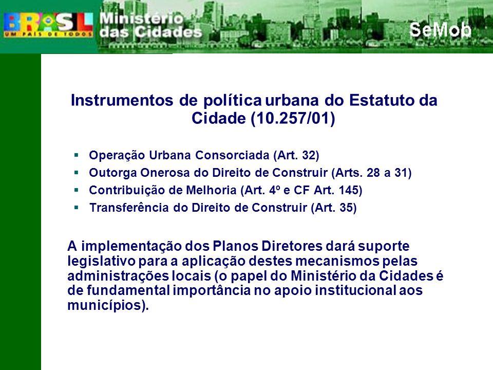 Instrumentos de política urbana do Estatuto da Cidade (10.257/01) Operação Urbana Consorciada (Art.