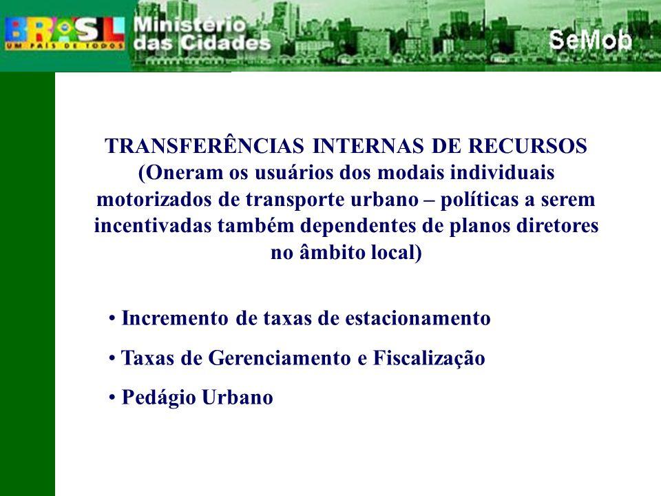 TRANSFERÊNCIAS INTERNAS DE RECURSOS (Oneram os usuários dos modais individuais motorizados de transporte urbano – políticas a serem incentivadas também dependentes de planos diretores no âmbito local) Incremento de taxas de estacionamento Taxas de Gerenciamento e Fiscalização Pedágio Urbano