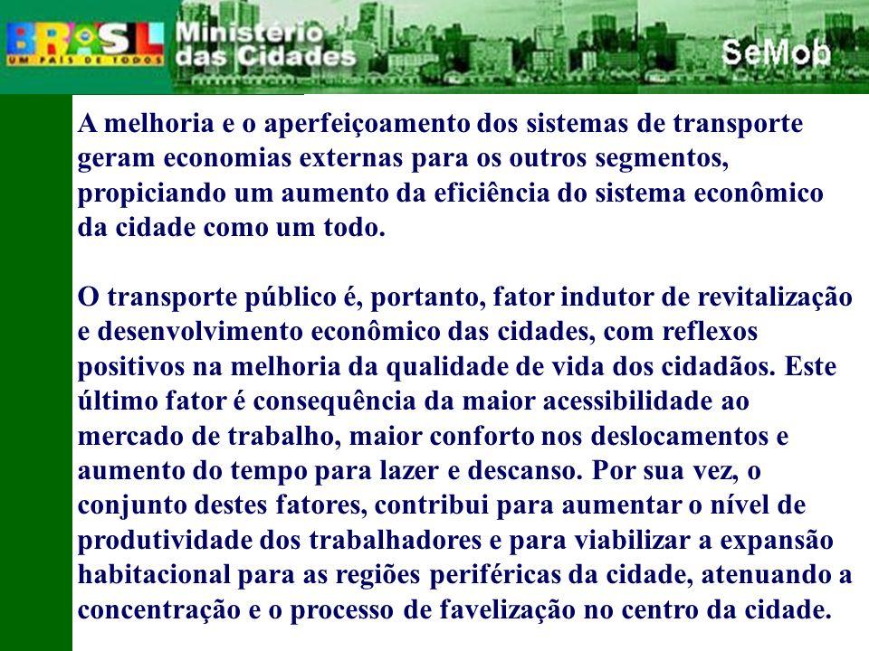 A melhoria e o aperfeiçoamento dos sistemas de transporte geram economias externas para os outros segmentos, propiciando um aumento da eficiência do sistema econômico da cidade como um todo.