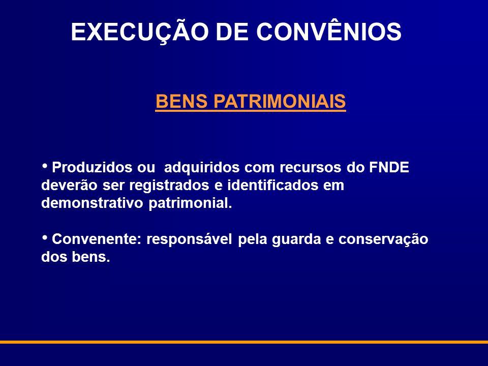 BENS PATRIMONIAIS Produzidos ou adquiridos com recursos do FNDE deverão ser registrados e identificados em demonstrativo patrimonial. Convenente: resp