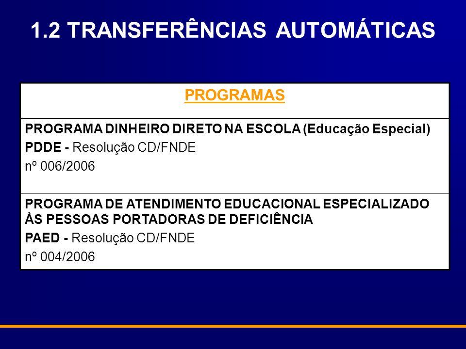 1.2 TRANSFERÊNCIAS AUTOMÁTICAS PROGRAMAS PROGRAMA DINHEIRO DIRETO NA ESCOLA (Educação Especial) PDDE - Resolução CD/FNDE nº 006/2006 PROGRAMA DE ATEND