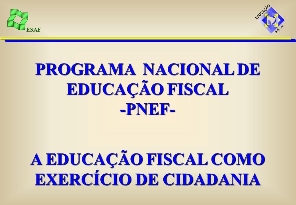 ESAF Portaria MF/MEC nº 413 - GEFM (artigo 20) O Programa Nacional de Apoio à Administração Fiscal dos Municípios – PNAFM prevê a educação fiscal como uma ação essencial.