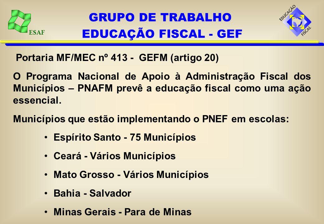 ESAF Portaria MF/MEC nº 413 - GEFM (artigo 20) O Programa Nacional de Apoio à Administração Fiscal dos Municípios – PNAFM prevê a educação fiscal como