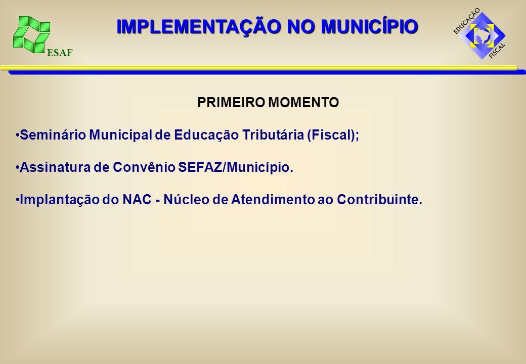 ESAF PRIMEIRO MOMENTO Seminário Municipal de Educação Tributária (Fiscal); Assinatura de Convênio SEFAZ/Município. Implantação do NAC - Núcleo de Aten