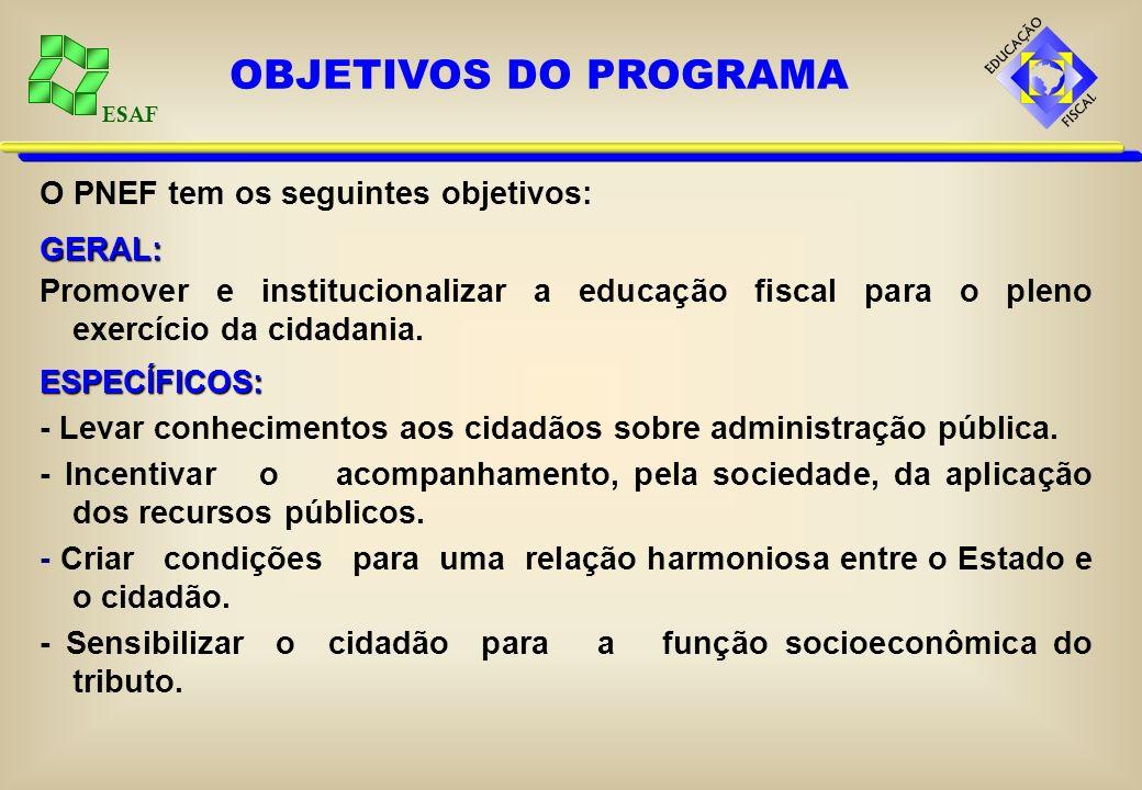 ESAF O PNEF tem os seguintes objetivos:GERAL: Promover e institucionalizar a educação fiscal para o pleno exercício da cidadania.ESPECÍFICOS: - Levar
