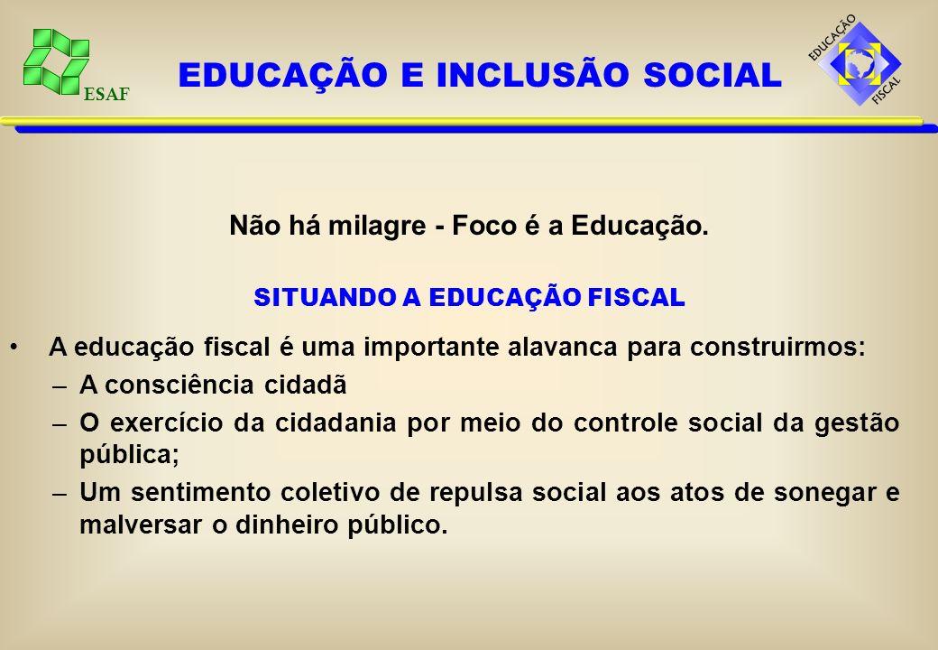 ESAF EDUCAÇÃO E INCLUSÃO SOCIAL Não há milagre - Foco é a Educação. SITUANDO A EDUCAÇÃO FISCAL A educação fiscal é uma importante alavanca para constr