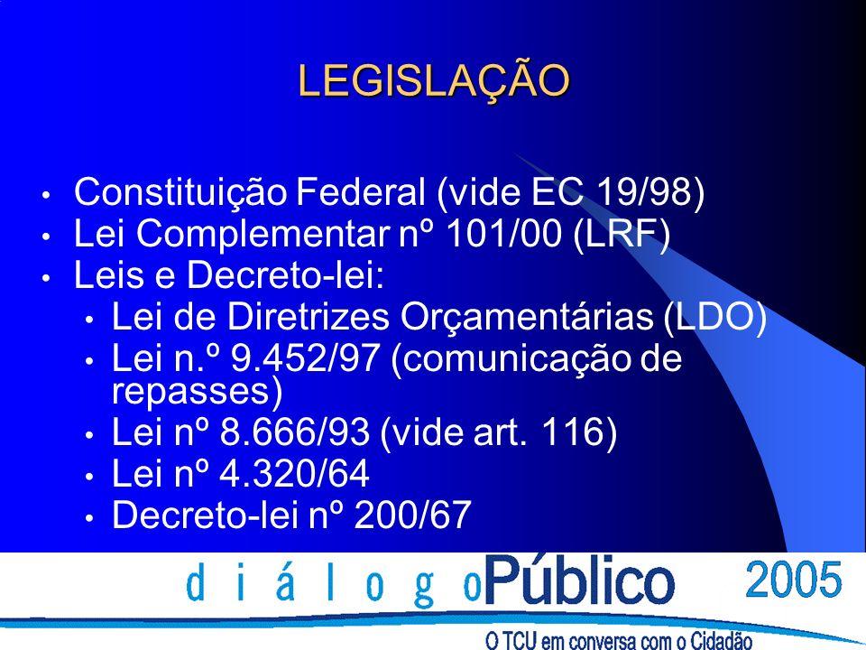 LEGISLAÇÃO Constituição Federal (vide EC 19/98) Lei Complementar nº 101/00 (LRF) Leis e Decreto-lei: Lei de Diretrizes Orçamentárias (LDO) Lei n.º 9.452/97 (comunicação de repasses) Lei nº 8.666/93 (vide art.