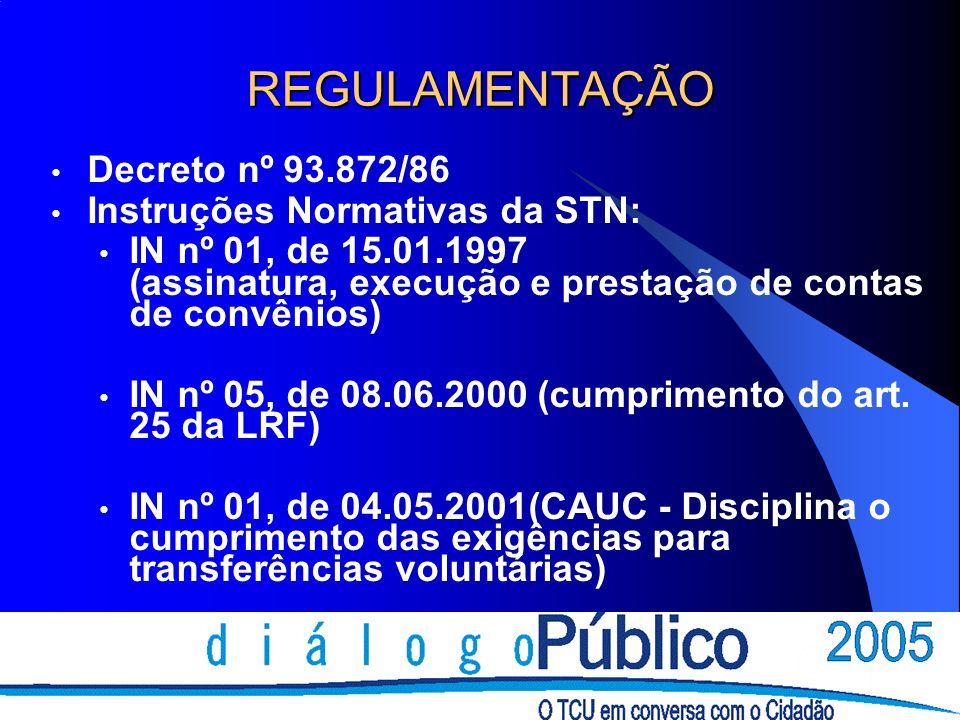 REGULAMENTAÇÃO Decreto nº 93.872/86 Instruções Normativas da STN: IN nº 01, de 15.01.1997 (assinatura, execução e prestação de contas de convênios) IN nº 05, de 08.06.2000 (cumprimento do art.