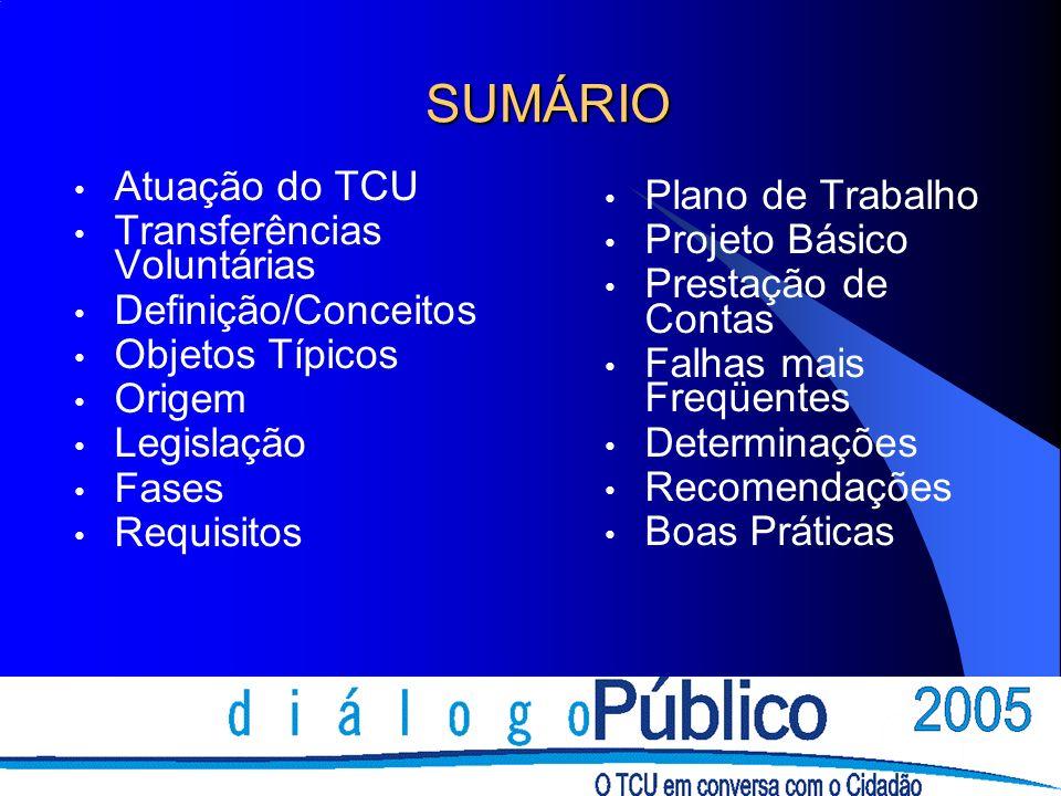 ATUAÇÃO DO TCU I - Fiscalização em todas as fases (CF e Lei nº 8.443/1992) deflagrada por: - Solicitação do Congresso Nacional - Denúncias, Representações - Notícias de Jornal/TV - Iniciativa do TCU