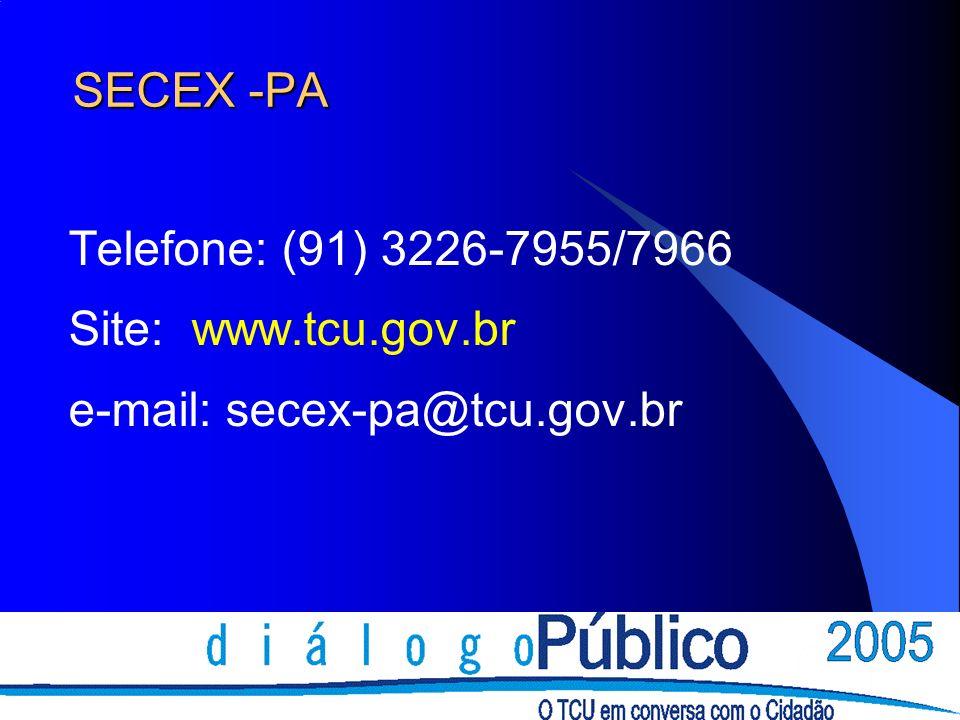 SECEX -PA Telefone: (91) 3226-7955/7966 Site: www.tcu.gov.br e-mail: secex-pa@tcu.gov.br