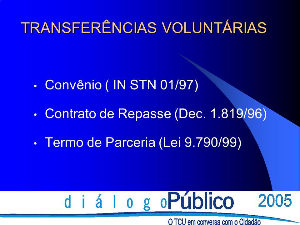 TRANSFERÊNCIAS VOLUNTÁRIAS Convênio ( IN STN 01/97) Contrato de Repasse (Dec.